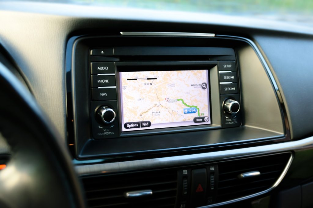 Photo of a car navigation system